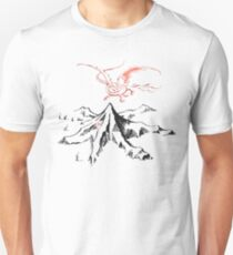 Red Dragon Above A Single Solitary Peak - Fan Art T-Shirt