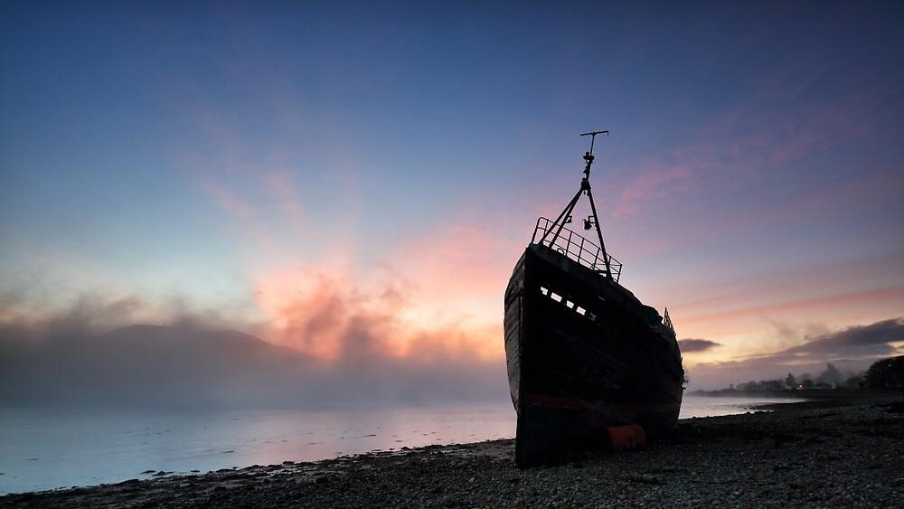 Loch Linnhe Misty Shipwreck by Grant Glendinning