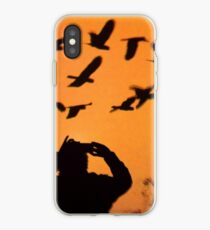 Red Sunset with Birds iPhone Case