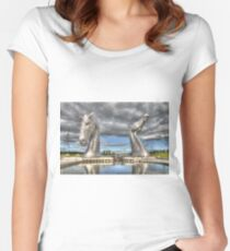 the Kelpies , Helix Park , Grangemouth  654 Women's Fitted Scoop T-Shirt