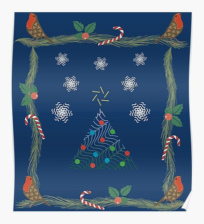 Christmas Pattern Collage  Poster