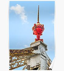 Red Finial atop Old Cantilever Bridge Poster