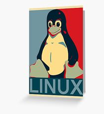 Tux Linux Hope Poster Parody Design for Free Software Geeks Greeting Card