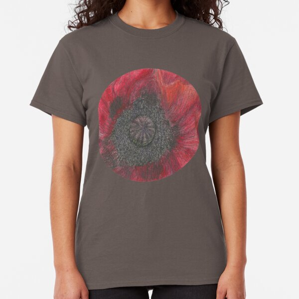 Heart of the Poppy illustration, ink and watercolor Classic T-Shirt