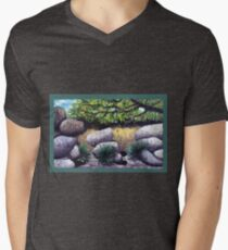 Tree and Boulders Men's V-Neck T-Shirt