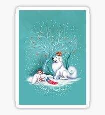 Great Pyrenees Christmas - Waiting for Santa Sticker