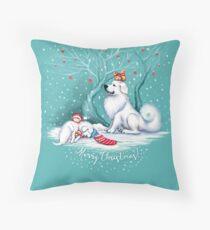 Great Pyrenees Christmas - Waiting for Santa Throw Pillow