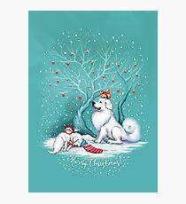 Great Pyrenees Christmas - Waiting for Santa Photographic Print