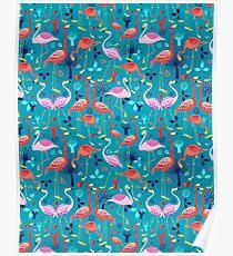 beautiful pattern lovers flamingo Poster
