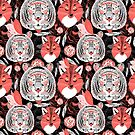 beautiful pattern  portraits of tigers and foxes by Tanor