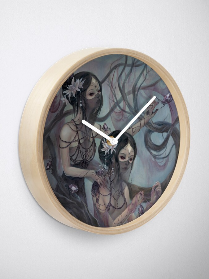 Alternate view of collecting silk from crystal spiders Clock