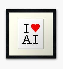 I Love (Heart) Ai Artificial intelligence  Ny parody Framed Print