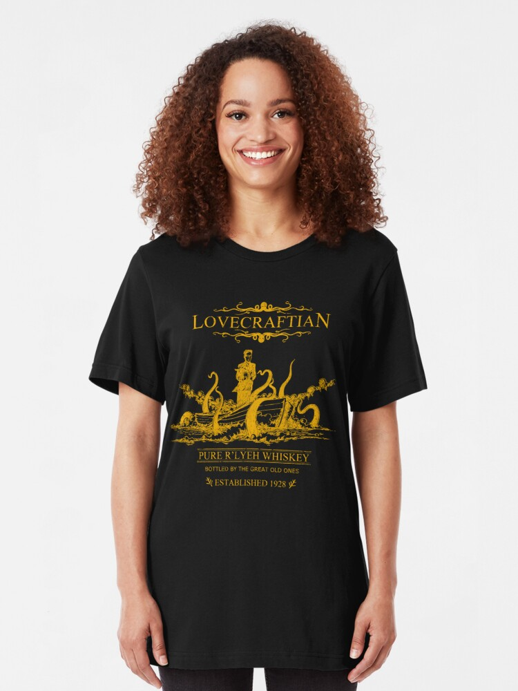 Alternative Ansicht von Lovecraftian - R'lyeh Whisky Gold Label Slim Fit T-Shirt