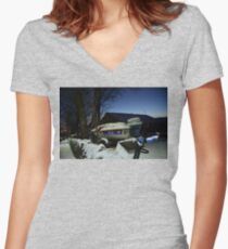 Speedboat In the Snow Women's Fitted V-Neck T-Shirt