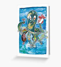 Oktopus Kraken Weihnachten  Grußkarte