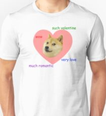 Doge Much Valentines Day Very Love Such Romantic Slim Fit T-Shirt