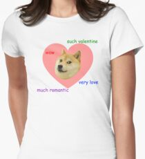Doge Much Valentines Day Very Love Such Romantic Women's Fitted T-Shirt