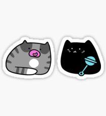 Black Kitten and Gray Tabby Kitten Sticker