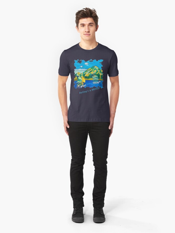 Alternate view of SAILING'S A BREEZE - OCEAN ART Slim Fit T-Shirt
