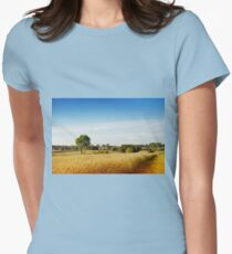 Rural wheat field view Womens Fitted T-Shirt