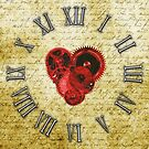 Vintage Steampunk Clock No.5, Vintage Steampunk Clockwork Heart by Steve Crompton