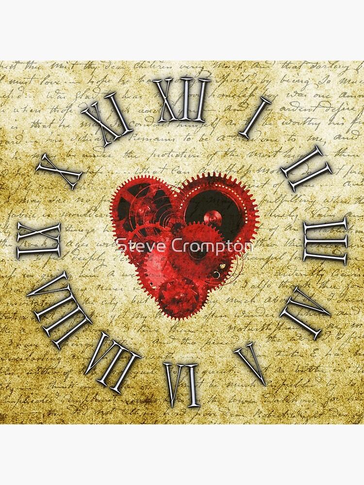 Vintage Steampunk Clock No.5, Vintage Steampunk Clockwork Heart by SC001