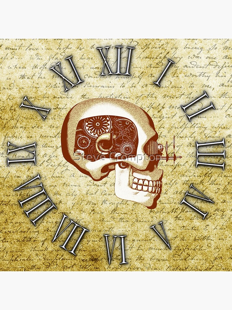 Vintage Steampunk Clock No.6, Steampunk Automaton Skull by SC001