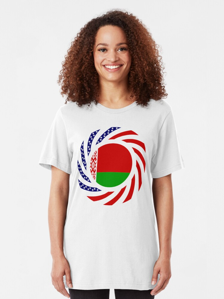 Alternate view of Belarusian American Multinational Patriot Flag Series Slim Fit T-Shirt