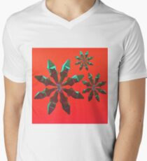 Snowflakes (red and green) Men's V-Neck T-Shirt
