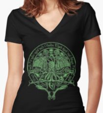 The Idol Sick Green Variant Cthulhu God Art Women's Fitted V-Neck T-Shirt