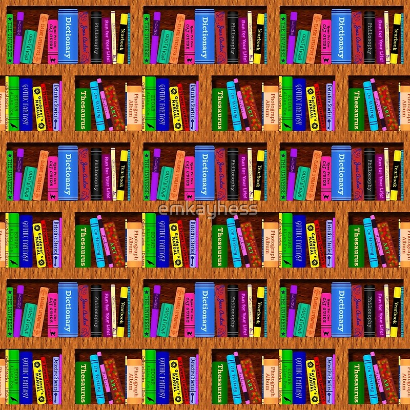 Library Bookshelf Background Pattern for Readers by emkayhess