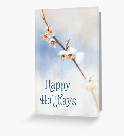 Happy Holidays - Frosted Witch Hazel Blossoms Greeting Card
