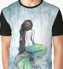 Mermaid Watercolor Painting Graphic T-Shirt