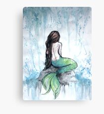 Mermaid Watercolor Painting Canvas Print