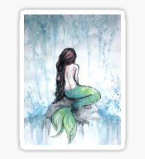 Mermaid Watercolor Painting Sticker