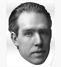 Niels Bohr floating head - blanche Poster