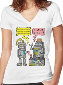 Robot Talk Women's Fitted V-Neck T-Shirt