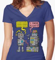 Robot Talk Women's Fitted V-Neck T-Shirt