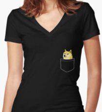 Pocket Doge Women's Fitted V-Neck T-Shirt