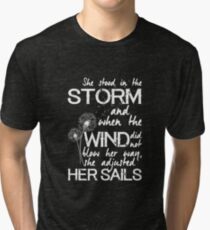 She stood in the storm...beautiful quote (white text) Tri-blend T-Shirt