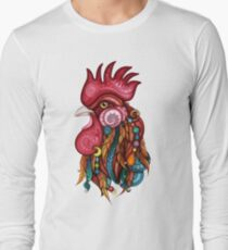 Tribal Rooster Design Long Sleeve T-Shirt