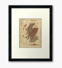 Vintage Geological Map of Scotland Framed Print