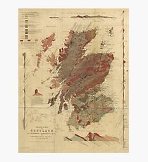 Vintage Geological Map of Scotland Photographic Print