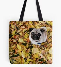 Pug with Autumn Leaves Tote Bag