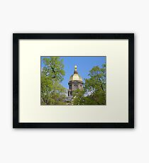 Golden Dome Through the Trees-Notre Dame Framed Print