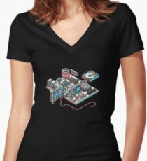 Motherboard Women's Fitted V-Neck T-Shirt