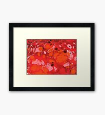 Orange Red Texture Liquid Abstract Framed Print