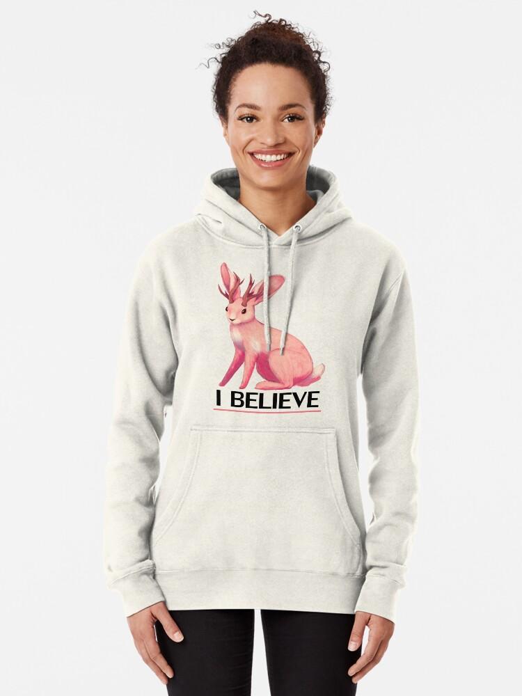 Alternate view of I Believe - Jackalope Pullover Hoodie