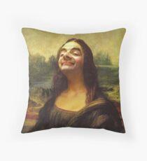 Mr Bean - Mona Lisa Throw Pillow