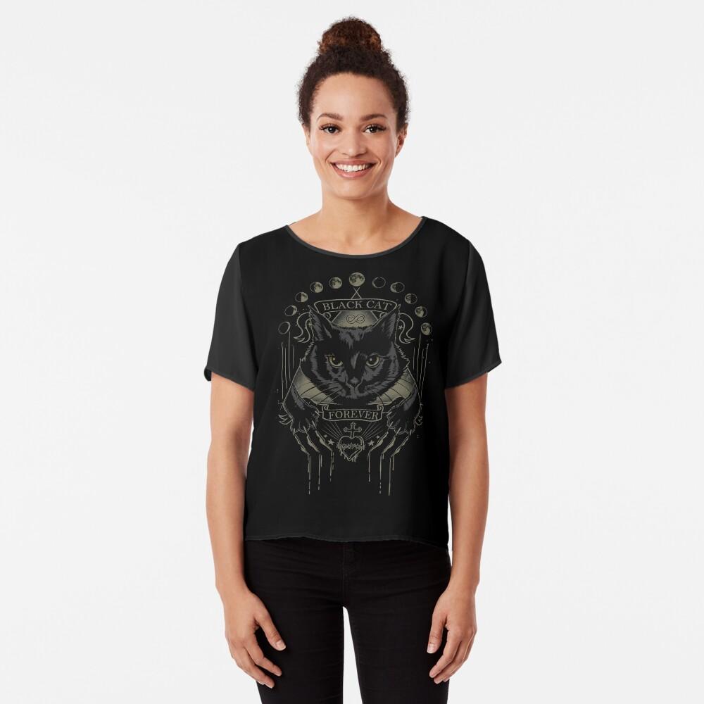 Schwarze Katze Kult Chiffon Top